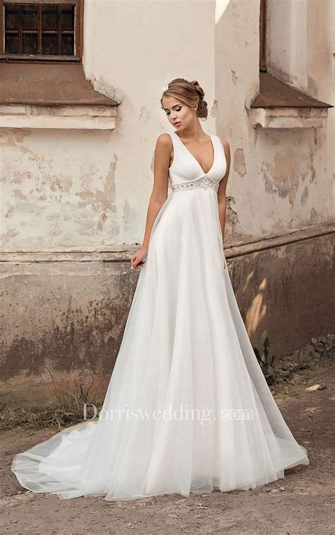 empire wedding dresses v neck empire a line chiffon wedding dress with beading 3901