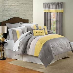 Yellow and gray bedding that will make your bedroom pop for Yellow and gray bedroom