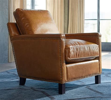 pottery barn leather chair leather armchair pottery barn