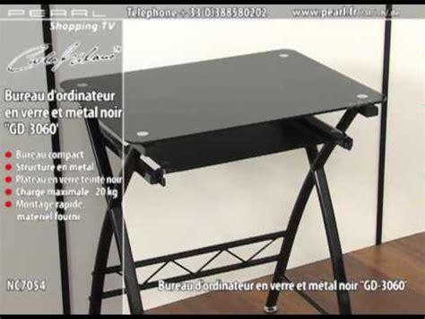 bureau ordinateur en verre nc7054 bureau d 39 ordinateur en verre et métal noir 39 39 gd