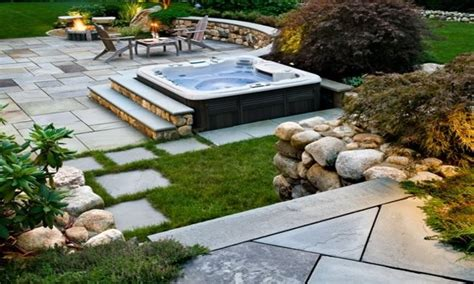 Backyard With Tub by Tub Patio Ideas Idea Landscaping Back Yard With
