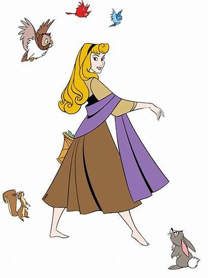 Sleeping Aurora Clip Princess Disney Animals Walking