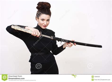 woman  sword stock image image  samurai attractive