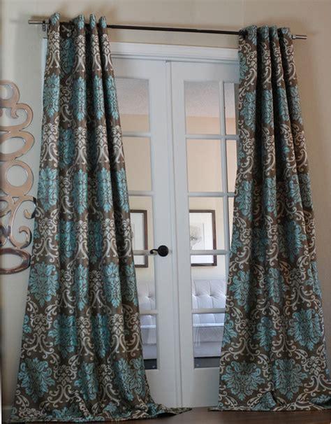 milan damask smoky teal curtain panel contemporary