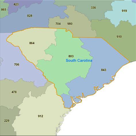 carolina phone code south carolina area codes map map
