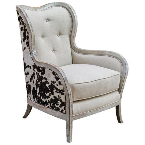 antique wood wing kendra rustic lodge faux cow hide velvet linen wing chair