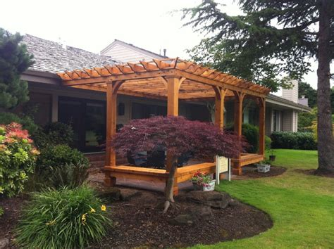 built in patio bench seating cedar pergola with built in bench seating traditional