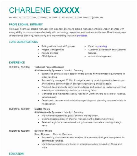 Technical Project Manager Resume by Best Technical Project Manager Resume Exle Livecareer