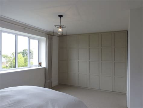 modern contemporary house bedroom cupboards in greene slaked lime