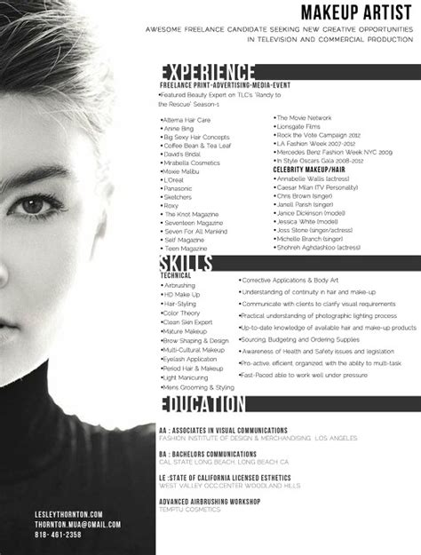 Freelance Makeup Artist Resumes by Freelance Makeup Artist Resume Exle Makeup Vidalondon Makeup Artist Resume Whitneyport Daily