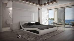 Lit simili cuir blanc et noir 160x200 cm avec eclairage for Suspension chambre enfant avec matelas 160x200 haut de gamme