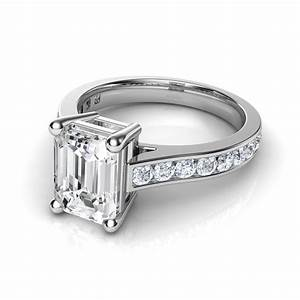 channel set cathedral emerald cut diamond engagement ring With emerald cut wedding ring set