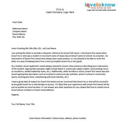 recommendation letter template  student  excel