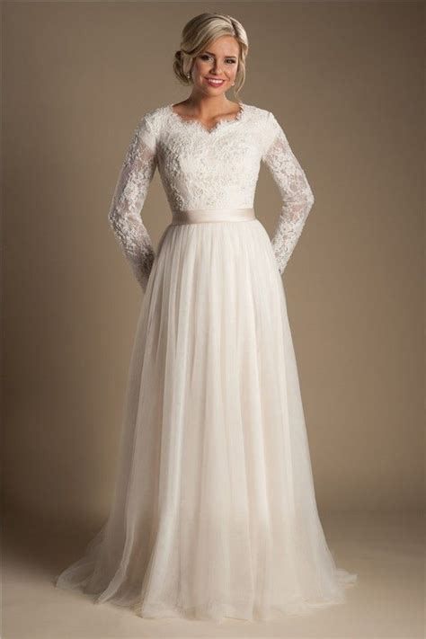 modest   long sleeve champagne tulle lace wedding