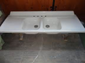 vintage double basin drainboard cast iron farm farmhouse