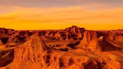 Desert Windows Sunset Gobi Asia Panoramic Mongolia