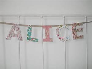 guirlande prenom tissu collection avec guirlande prenom With chambre bébé design avec tissu coton fleurs