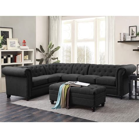 Home Sectional Sofa by Coaster Roy Button Tufted Sectional Sofa With Armless