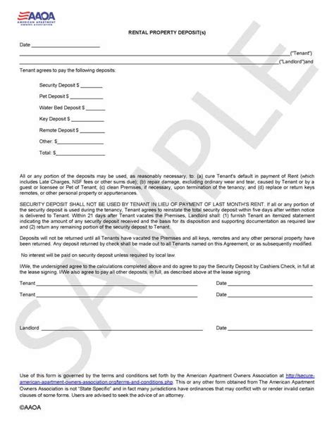 Apartment Deposit by Rental Deposit Form Security Deposit Agreement Aaoa