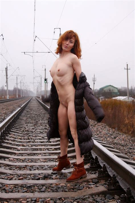 Russian Redhead Posing Naked On Railway — Russian Sexy Girls