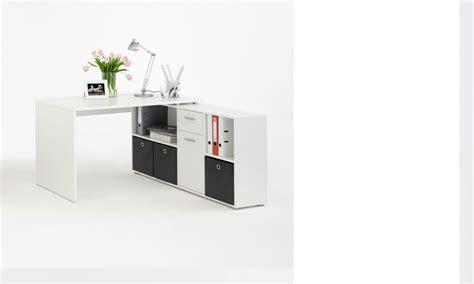 bureau d angle pivotant bureau d 39 angle réversible avec rangements blanc turno 2