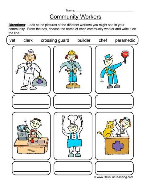 community helpers worksheet teaching