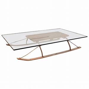 Coffee table vintage industrial wood and glass sled for for Sled coffee table