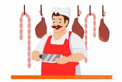 Butcher Clipart Meats Hanging Background Knife Holding