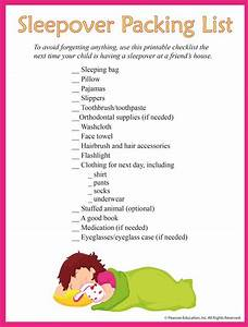Sleepover Packing List For Kids Make Packing For Their