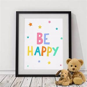 BE HAPPY Quote ... Nursery Canvas Quotes