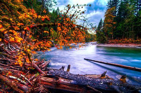 snoqualmie, River, Washington, River, Forest, Autumn ...