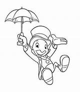 Cricket Jiminy Coloring Pages Pinocchio Coloringpagesfortoddlers Dari Disimpan Lukisan Cartoon sketch template