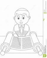 Coloring Bar Mitzvah Boy Colouring Reading Jewish Torah Illustrations Useful Invitation Card sketch template