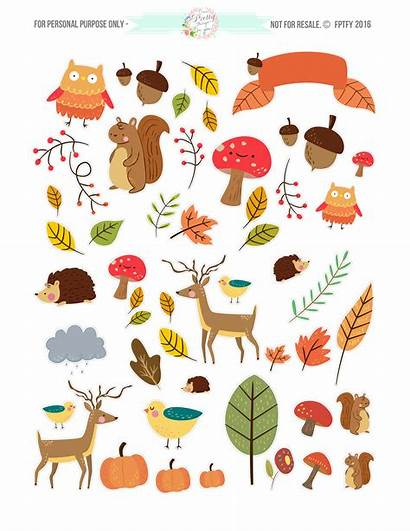 Planner Autumn Stickers Clip Pdf Critter Animal