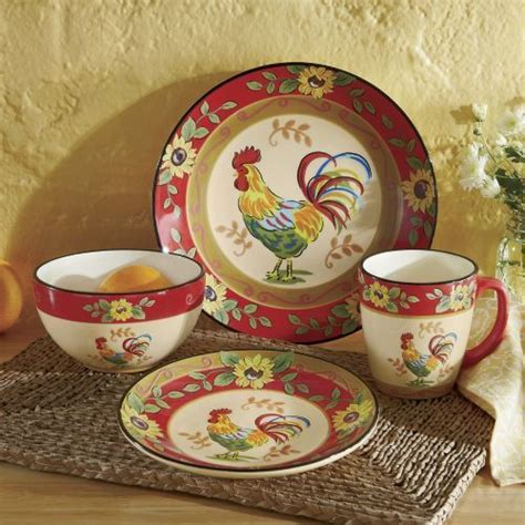 rooster dishes 16 piece sunflower rooster dinnerware set from seventh avenue 174 roosters pinterest