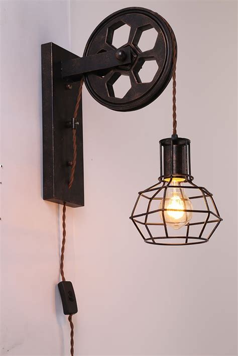 kiven plug in plley industrial cage wall sconce vintage