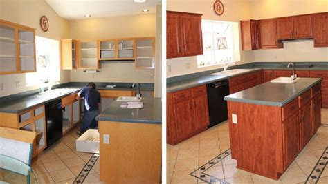 reface kitchen cabinets before and after cabinet refacing before and after