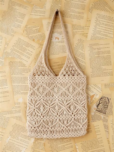 lyst  people vintage macrame handbag  natural
