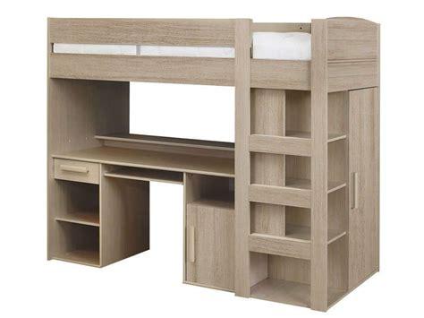 lit mezzanine 2 places avec canapé lit mezzanine 90x200 cm montana chêne gris conforama