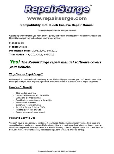 motor repair manual 2009 buick enclave electronic toll collection buick enclave online repair manual for 2008 2009 and 2010 by repairsurge issuu