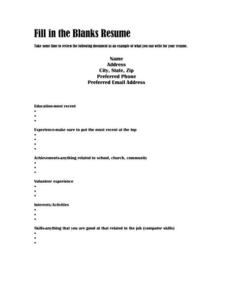 fill in resume template blank resume templates mughals