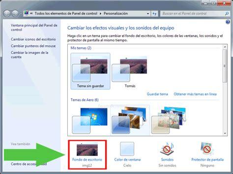 cambiar el fondo de pantalla en windows