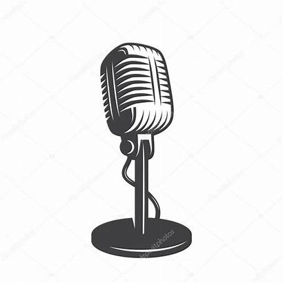 Microphone Vector Retro Illustration Isolated Podcast Clip