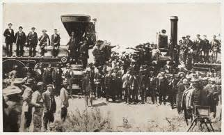 Image result for Central Pacific and Union Pacific Rail Roads meet in Promontory, UT. A golden spike