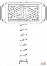 Thor Coloring Hammer Pages Mjolnir Printable Template Drawing Templates Sketch Cartoon Paper Norse Mjoelnir Mythology sketch template