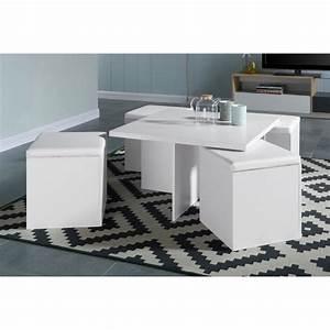 Table Basse 4 Poufs : lila table basse carr e 80x80cm blanc mat 4 poufs en simili blanc achat vente table basse ~ Teatrodelosmanantiales.com Idées de Décoration