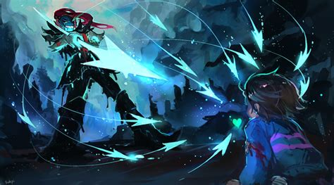 Frisk, Undyne, And Undyne The Undying (undertale) Drawn By
