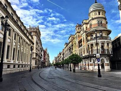 Spain Seville Streets Empty Podemos Confinamiento Chino