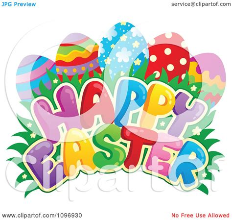 clipart colorful happy easter greeting eggs grass