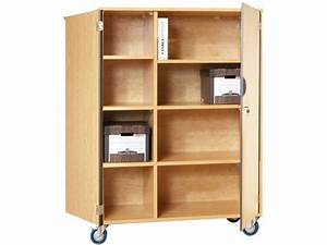 Mobile Storage Cabinet With Doors 6 Shelves WPartition